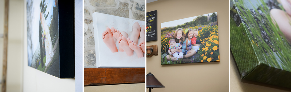 Custom photography products including professional photo prints, gallery wrapped canvases, and printed custom photo cards