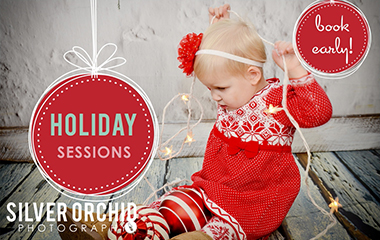 Promotional graphic for family holiday photography sessions special offer