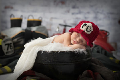 Silver Orchid Photography, Newborn Photography, Family, Photography, Firefighter, Fire Truck, Newborn Boy