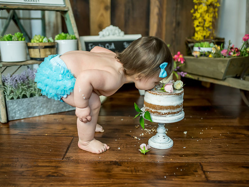 Cake Smash First Birthday photograph of a girl with blue bloomers by child photographer Tara Lynn of Silver Orchid Photography