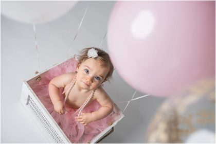 Silver Orchid Photography Studio, Perkiomenville, PA | Lulu's Pink & Gold Cake Smash