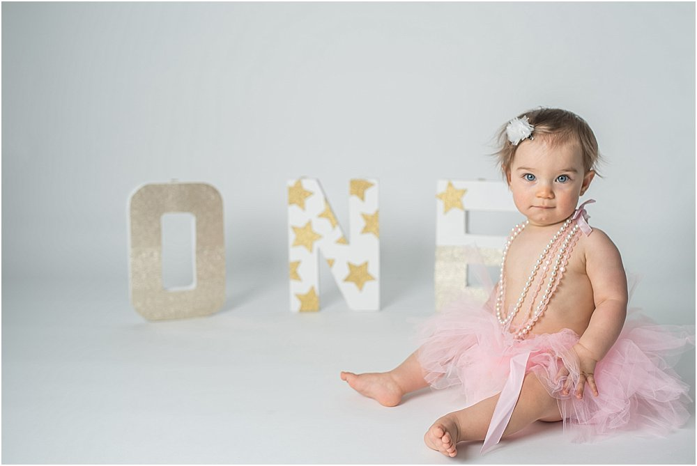 Silver Orchid Photography, Silver Orchid Photography Portraits, Perkiomenville, Montgomery County, PA, Cake Smash, First Birthday, Pink and Gold, Balloons, Ladybug, Minimalist