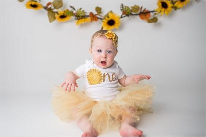 Silver Orchid Photography, Silver Orchid Photography Portraits, Perkiomenville, Montgomery County, PA, Cake Smash, First Birthday, Sunflowers, Minimalist