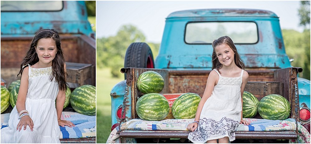 Silver Orchid Photography, Silver Orchid Photography Portraits, Perkiomenville, Montgomery County, PA, Little Blue Truck, Chevy Apache, Vintage Truck, Watermelons, Mini Sessions, Summer Sessions, Outdoor Sessions, Simple, Vintage, Nature, Farm