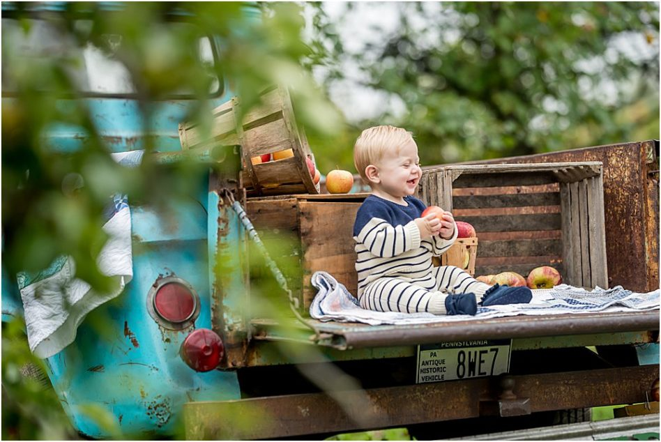 Silver Orchid Photography, Silver Orchid Photography Portraits, Silver Orchid Photography Studio, Perkiomenville, Montgomery County, PA, Fall Sessions, Outdoor Sessions, Apple Harvest, Little Blue Truck, 1959 Chevy Apache, Vintage Truck, Vintage Inspired